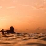 Dem Sonnenuntergang entgegen surfen